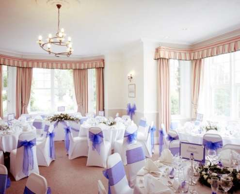 Lounge set for wedding reception at Middle Aston House