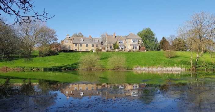 Wide Shot of Middle Aston House Lake and Grounds