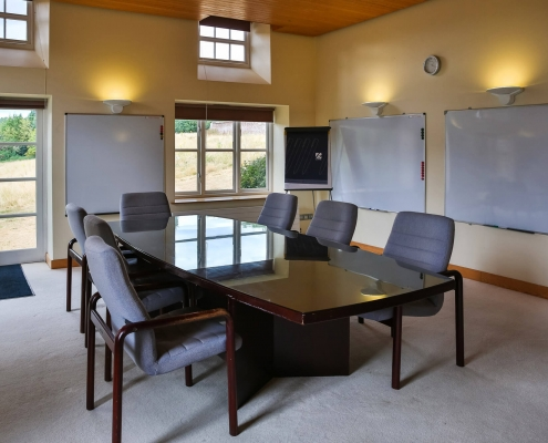 Oakroom set for boardroom.