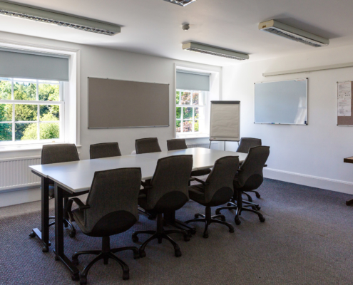 An image of the Terrace view meeting room in the main house at Middle Aston House