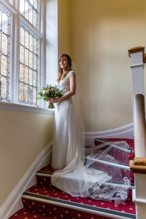 The Bride on our Feature Staircase at Middle Aston House Oxfordshire