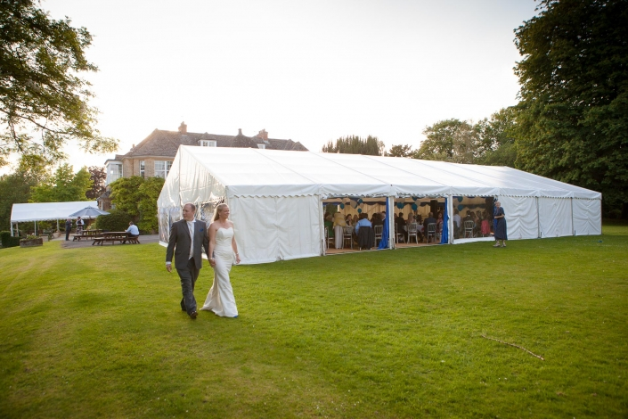 Marquee Wedding setup at Middle Aston House in Oxfordshire