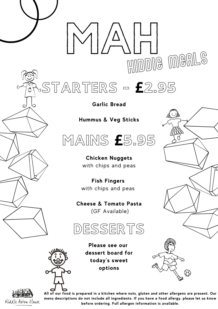 Middle Aston House Children's Menu
